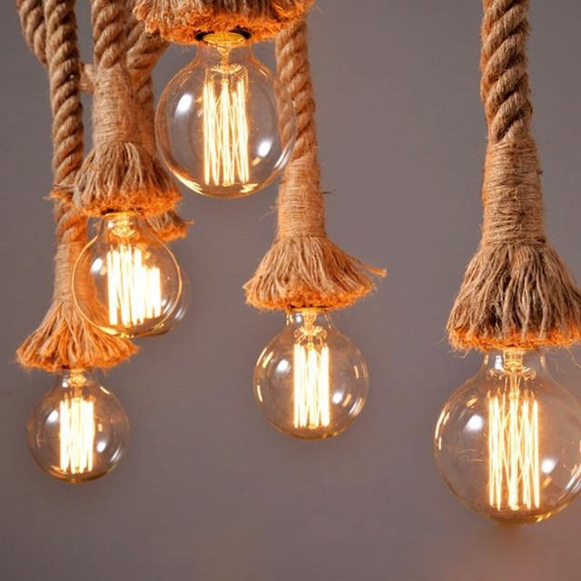 led chandelier light E27 Bulb Plating black base 100% handmade flax ...