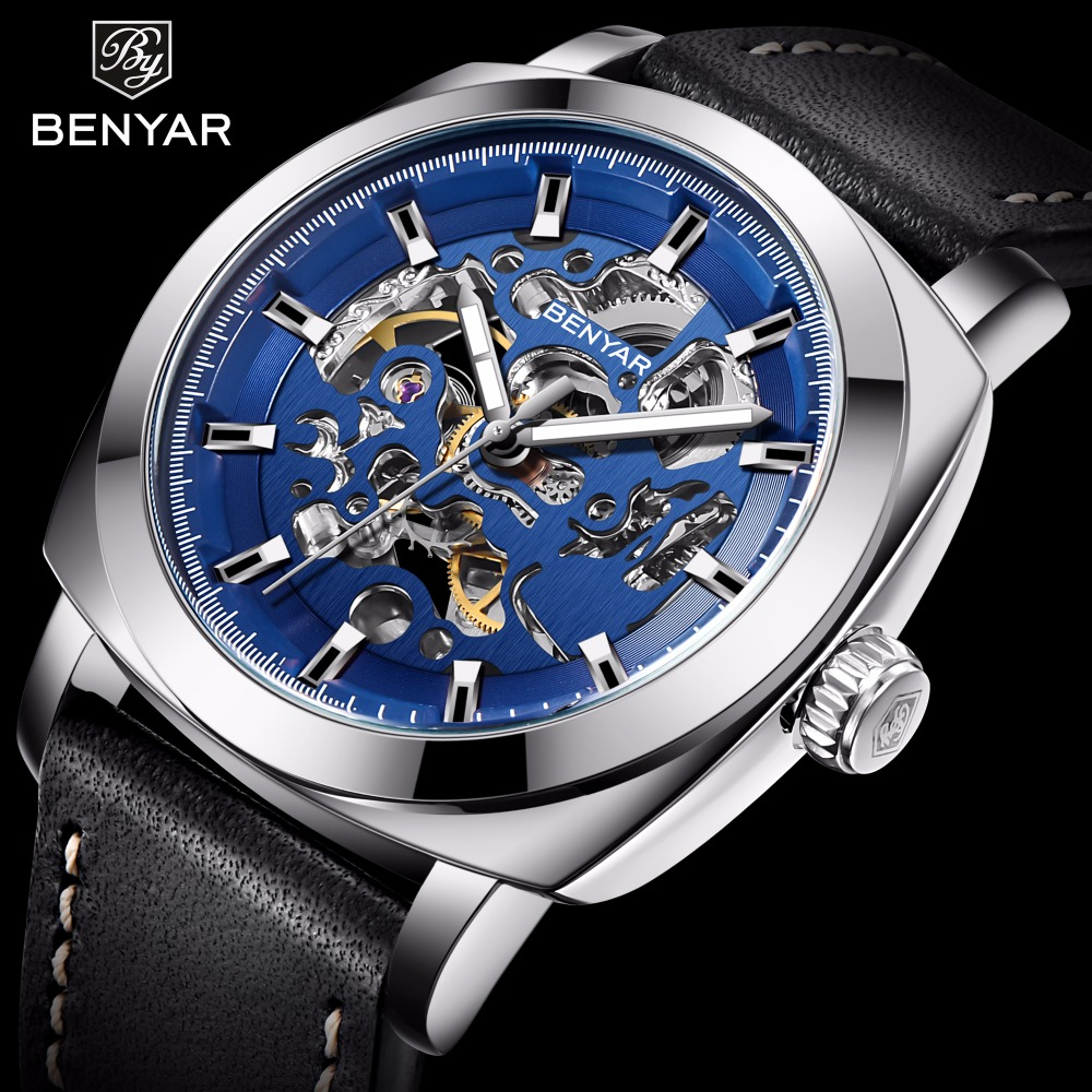 BENYAR 2018 New Top Fashion Men Watch Luxury Brand Leather Creative Watch Automatic Mechanical Male Wristwatch Relogio MasculinoBENYAR 2018 New Top Fashion Men Watch Luxury Brand Leather Creative Watch Automatic Mechanical Male Wristwatch Relogio Masculino