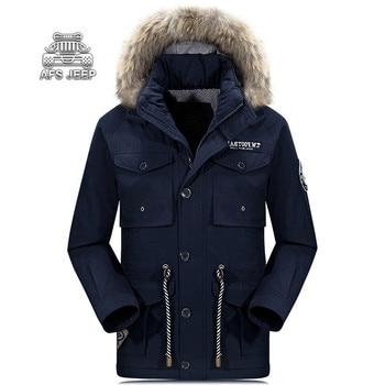 Mens Fur Parka Plus Size M-4XL Winter Down Jacket Men Warm Windbreak Thick Velvet Leisure New Original Brand AFS JEEP Clothing