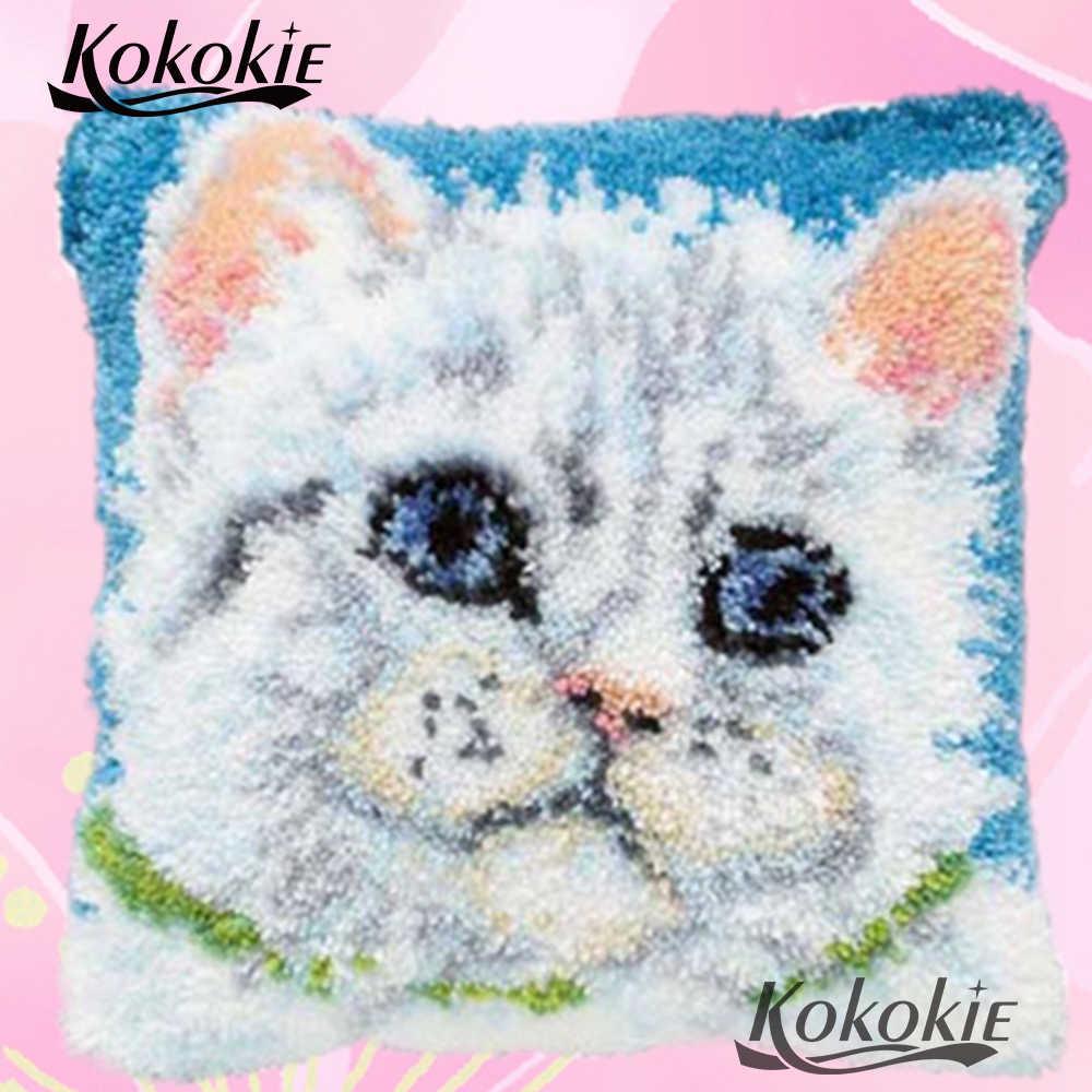 Cuscino ricamo filato artigianato Uncinetto Tappetini filato gatto bianco 3d fai da te Tappetini tappeto punto croce gancio di Chiusura Tappetini cuscino kit