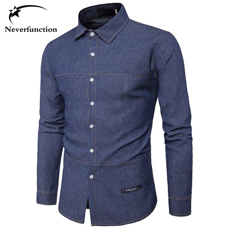 3fcf8bcbaa690 New men Blue Slim Fit Long Sleeve Jean Shirt Men Chemise Homme Autumn  Fashion Mens Solid color Denim Shirts Camisa Masculina