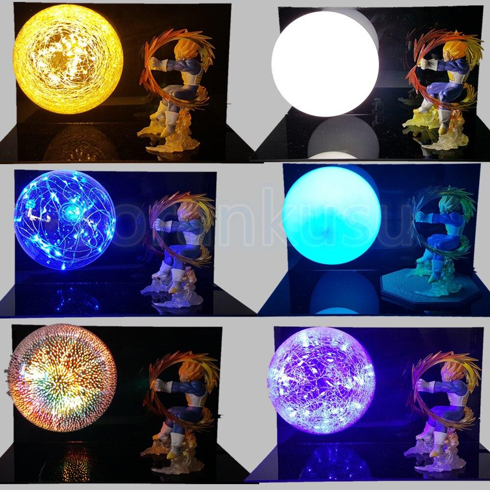Dragon Ball Z Action Figure Vegeta Kamehameha DIY Led Light Display Set Dragon Ball Vegeta Model