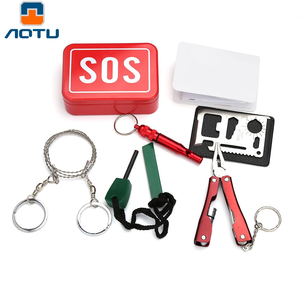 Aotu AT9016 Outdoor Emergency Combination Multifunctional Tools Kit SOS Emergency Equipment Tool First Aid kit Outdoor Supplies