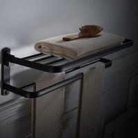Bathroom Towel Rack with Two Bars Aluminum Black Towel Holder Folding Wall Mounted 50 60CM Towel Rail Holder Towel Hanger Bar