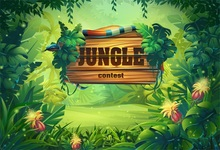 Laeacco Jungle Party Cartoon Trees Flowers Baby Photography Backgrounds Customized Photographic Backdrops For Photo Studio