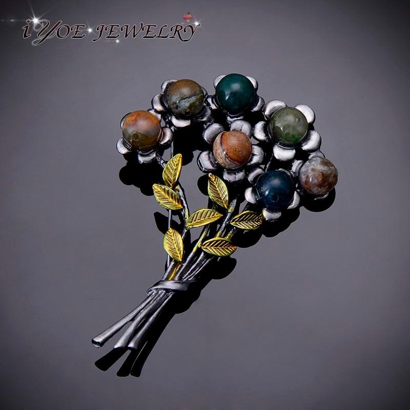 IYOE новейший дизайн, старинная черная бриллиантовая брошь, булавки, модные ювелирные изделия, винтажные Броши из натурального камня