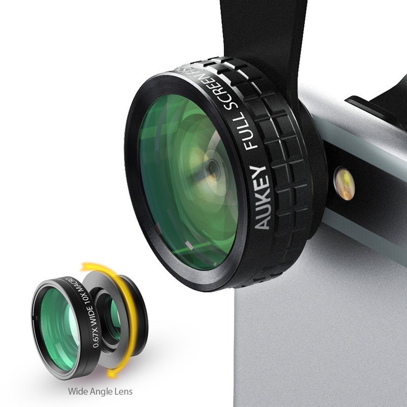 AUKEY 180 Degree Fisheye Lens + Wide Angle + Macro Lens 3in 1 Clip-on Cell Phone Camera Fish eye Lens for Xiaomi & other Device