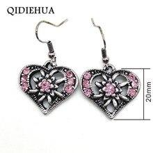 QIEIEHUA Antique Silver Earring Love Heart Fishhook Earrings