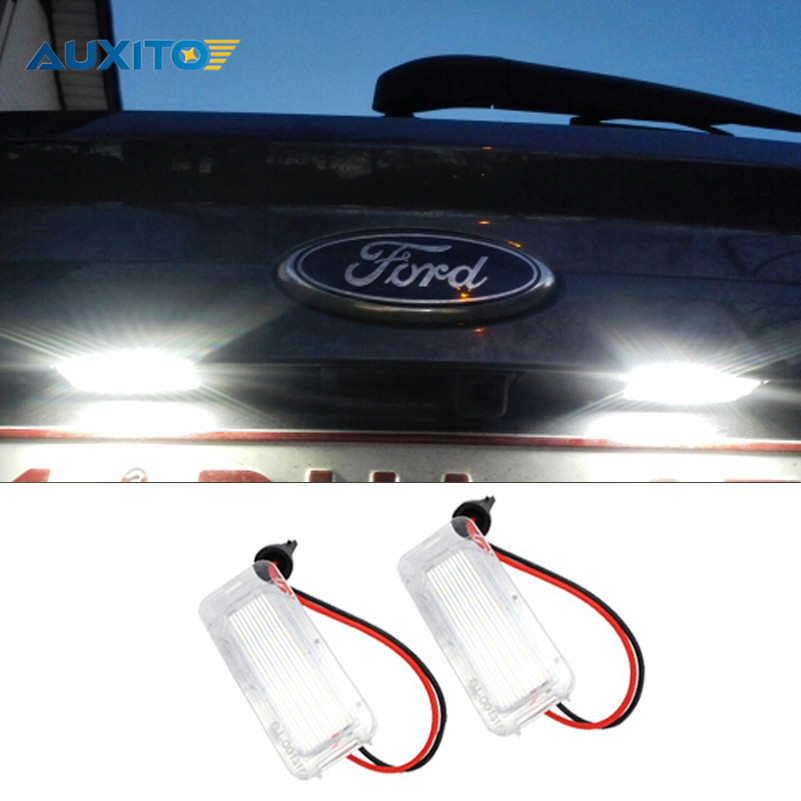 2PCS Canbus LED License Plate Light 18LED Lamps For Ford Focus Fiesta Mondeo MK4 Kuga Galaxy S-max C max Mk2 DA3 MK3 MK5 MK6 2x no error 18led smd3528 car led license plate lights for ford focus da3 dyb fiesta ja8 mondeo mk4 mk5 c max s max kuga galaxy