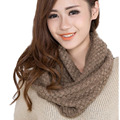 Christmas Gift Hot Fashion Winter Solid Color Sweet Style Ring Scarf Knit Scarves Crochet Muffler Warm Women Neckerchief Shawl