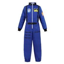 เด็กเครื่องแต่งกายบทบาทเล่นชุดสำหรับเด็กผู้หญิงเด็กวัยหัดเดินวัยรุ่น Spaceman Jumpsuit Space Pilot Flight ชุดสีขาวสีฟ้า