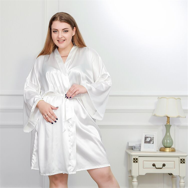 Plus Size 4XL Silk Kimono Robe Bathrobe Women Satin Bridesmaid Wedding Robes Sexy Dressing Gowns For 100KG Sleepwear White Black