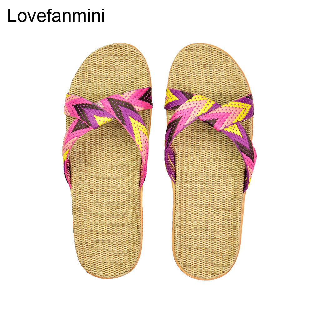 Natural linen slippers summer home indoor sandals