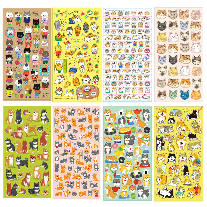4 pcs/Lot Cute cat and Japanese Shiba stickers Kawaii decorative stationery sticker for diary phone DIY scrapbooking F361 45pcs lot cute petal decorative diy diary stickers post it kawaii planner scrapbooking sticky stationery escolar school supplies
