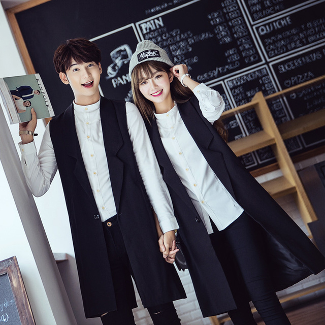 HOT 2016 New long paragraph lovers vest men's clothing black loose vest suit vest thin outerwear hairstylist nightclub coats