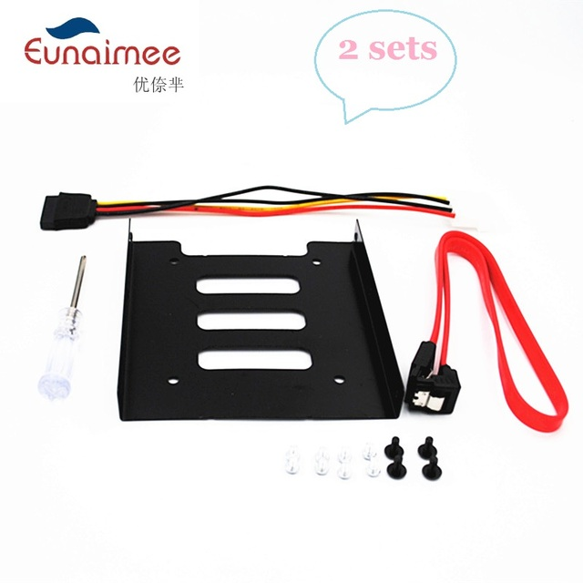"""2packs SSD HDD Mounting Bracket 3.5 to 2.5"""" Internal Hard Disk Drive Kit Cables 2.5 hard disk drive to 3.5 bay tray caddy"""