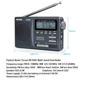 Image 4 - TECSUN – Radio réveil numérique Portable noir, affichage numérique FM/MW/SW, multi bande avec écran LCD haute sensibilité, Audio de Campus, DR 920C