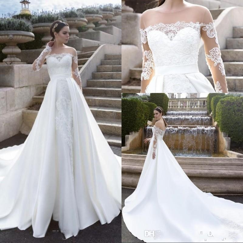 Luxury Long Sleeves Lace Off Shoulder Wedding Dress 2017 A