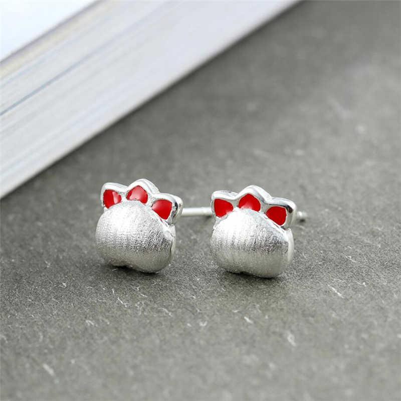 WYEAIIR Cool Puppy Footprints świeży literacki śliczny romantyczny słodki 925 srebro kobiece kolczyki