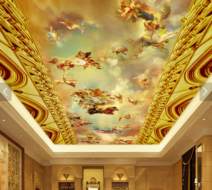 Custom Ceiling Wallpaper. Angel Oil Painting For The