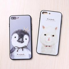 Cut Animal Case For iphone 7 8 6 6s plus x xr xsmax Pig Rabbit Penguin Alpaca Phone Cases Frosted Full Cover for apple Shell Bag