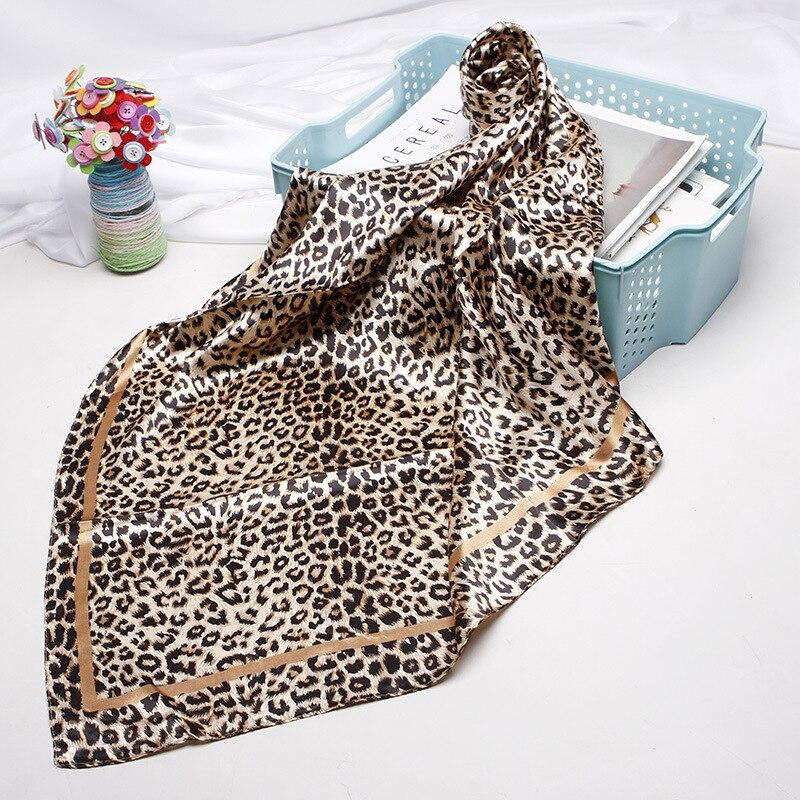 Luxury Brand Leopard   Scarf   For Women Satin Silk Hijab Scarfs Female 90cmx90cm Fashion Square Shawl Head   Scarves   For Ladies   Wraps