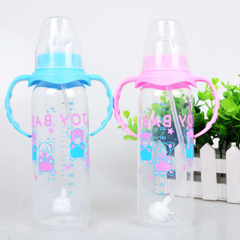 250Ml baby feeding bottle PP bottle with handle standard caliber Nursing bottle automatic nipple with breast milk bottle