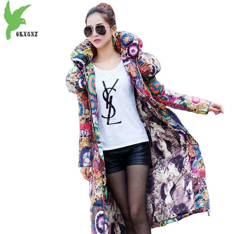 Winter Jacket Womens 2018 New Down cotton   Parkas   Thick Printed Hoodies Long Coat Plus size Slim Warm Female Cotton Jackets 1959