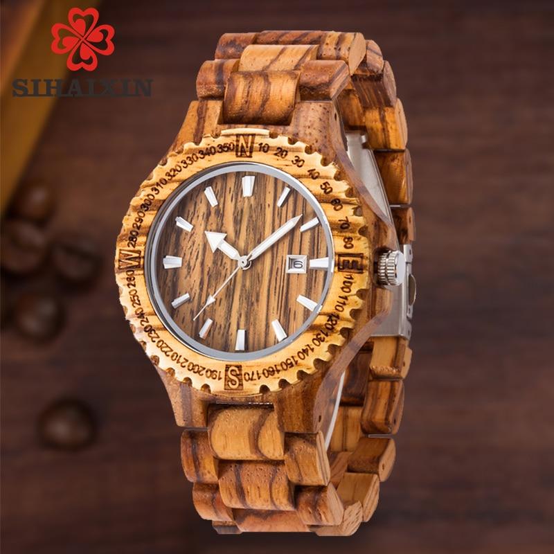 Hommes en bois montre 2018 bracelet à quartz montres avec bois de santal bracelet Calendrier horloge mâle marque de luxe sport montre avec boîte-cadeau