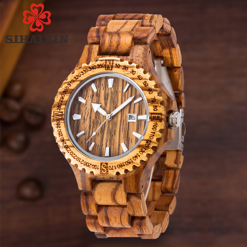 men wooden watch 2018 quartz wrist watches with sandalwood strap Calendar clock male luxury brand sport watch with gift box