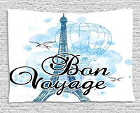 Going Away Party Decorations Tapestry Eiffel Tower Air Balloon Watercolor Bon Voyage Bird, Wall Hanging for Bedroom