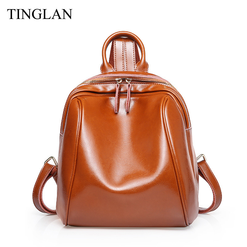 TINGLAN Genuine Leather Backpacks for Women Famous Designer Ladies Backpack Vintage Real Cow Leather Backpacks Female Luxury Bag