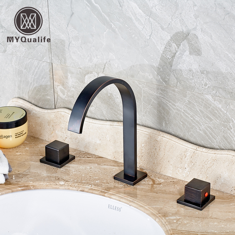 Oil Rubbed Bronze Deck Mounted Basin Faucet Bathroom Sink Mixer Taps Dual Handle with Hot and Cold Water black oil rubbed deck mounted bathroom faucet basin mixer sink taps dual handle cold and hot water faucets whg066
