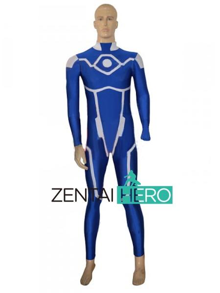 Free Shipping DHL Blue Multicolor Custom Superhero Costume Lycra Spandex Zentai Bodysuit For Cosplay Halloween Costume Catsuit