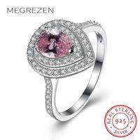 MEGREZEN Tim Nhẫn 925 Sterling Bạc Hồng Cubic Zirconia Nhẫn đối với Phụ Nữ Wedding Ring với Stone Món Quà Ngày Valentine R149-5