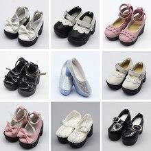1 쌍 1/4 bjd pu 가죽 인형 신발 작은 16 인치 샤론 인형 의류 액세서리 완구 6.3*2.5cm
