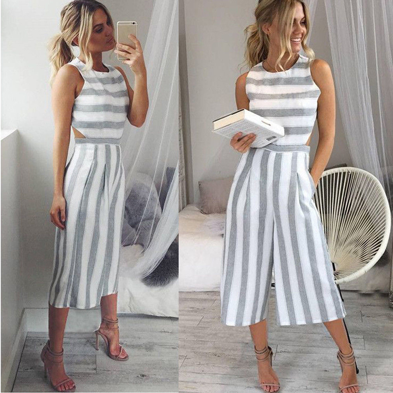 Summer Fashion Casual Women Jumpsuits Striped Slim Sleeveless O-Neck Backless Wide Leg Pants Jumpsuits