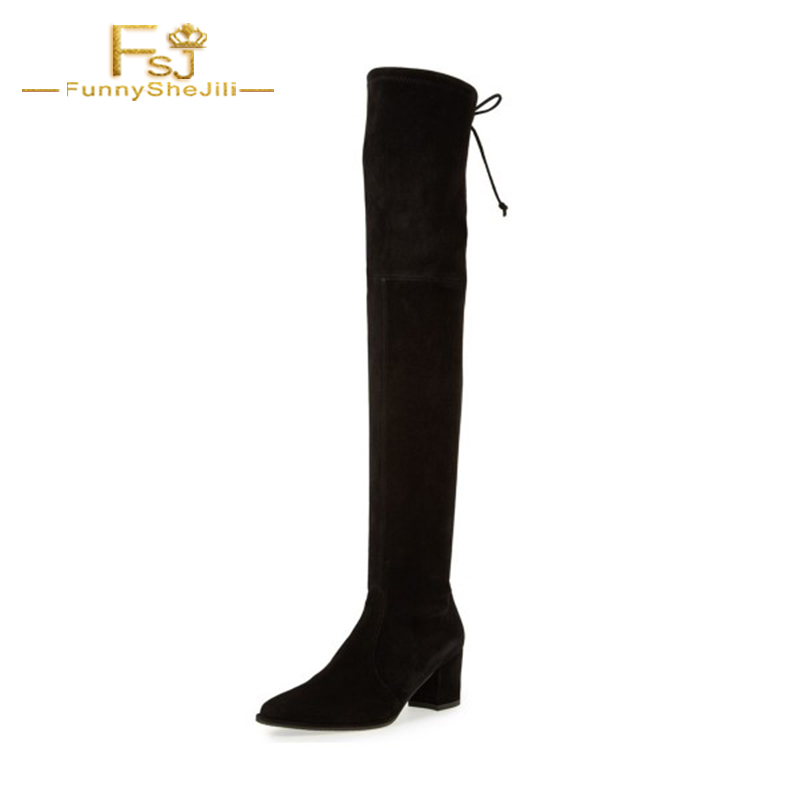 Black Long Boots Suede Chunky Heel Thigh-high Boots Shoes Woman Pointed Toe Over Knee Elastic Band Dress Casual Big Size FSJ