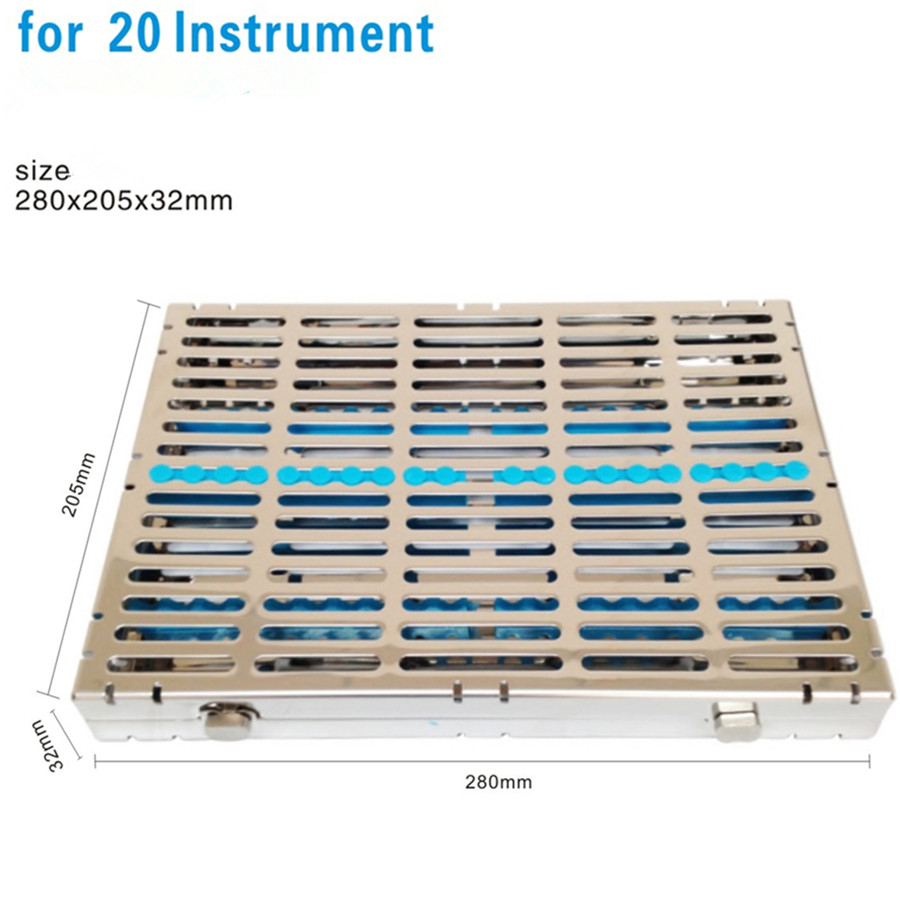 Dental Sterilization Cassette Rack Tray Box for 20 Surgical Instruments Sale!! dental sterilization box for gutta percha root canal file high speed bur disinfection box dental tool box disinfection box sl308