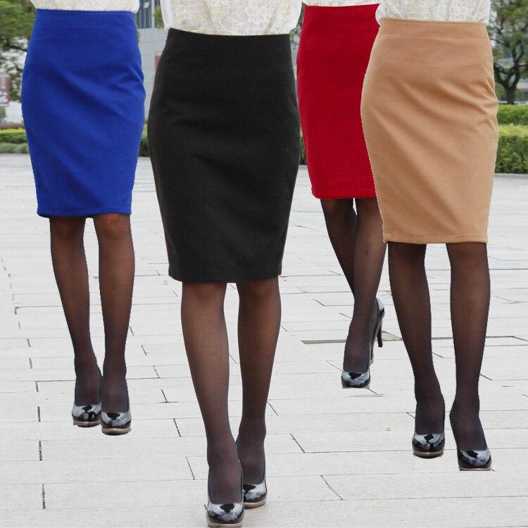 Women Pencil Skirt Winter Solid Color Leopard Waist Zipper ...