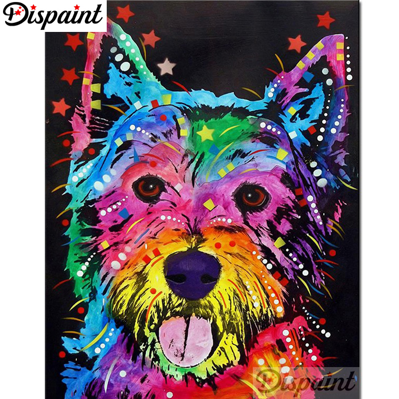"Dispaint Full Square/Round Drill 5D DIY Diamond Painting ""Cartoon color dog"" 3D Embroidery Cross Stitch Home Decor Gift A01020"