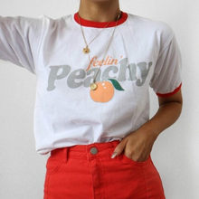 Fellin' Peachy Vintage Esthetische Ringer Vrouwen t-shirts Hipster Streetwear Gedrukt Korte Mouwen Vogue Zomer Tops Leuke Outfits(China)