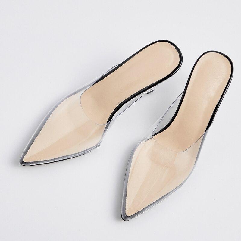 ISNOM الصيف شفافة غير عادية كعب عالية النعال امرأة وأشار اصبع القدم الأحذية أزياء PVC الإناث الشرائح أحذية البغال أحذية النساء-في شباشب من أحذية على  مجموعة 3