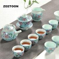 Boutique de Flores Pintados À Mão Cerâmica Kung Fu Jogos de Chá Criativa Decoração Da Casa Do Vintage Bule Gaiwan Xícaras de Chá Mar Chá Coador de Chá