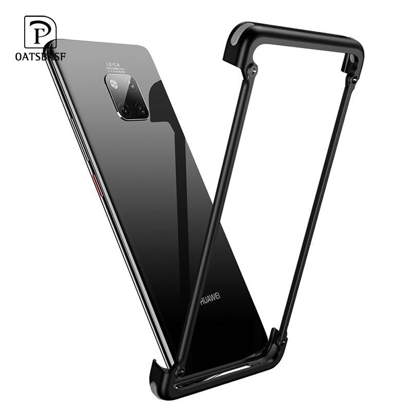 OATSBASF com Airbag formato Da Armação de Metal Caixa do telefone Para Huawei Companheiro 20 20 pro 20X20 RS luxo telefone shell no vidro traseiro com filme de volta