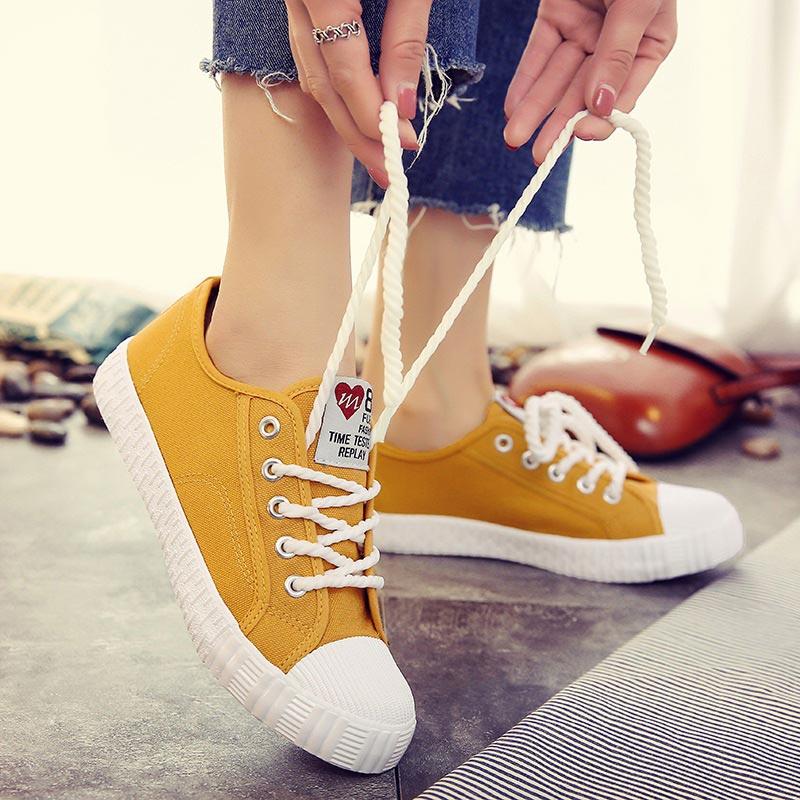 Donne scarpe da tennis 2019 nuovo lace-up cucito su tela scarpe da donna studente di colore solido moda femminile scarpe da ginnastica zapatillas mujerDonne scarpe da tennis 2019 nuovo lace-up cucito su tela scarpe da donna studente di colore solido moda femminile scarpe da ginnastica zapatillas mujer