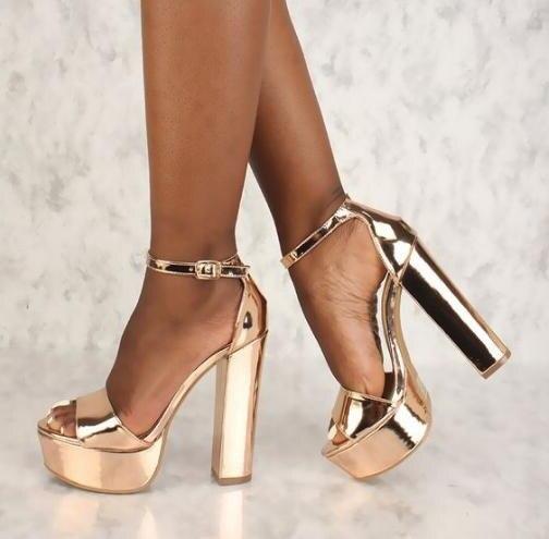 Square Heels Sandals Pump Dress-Shoes Rose-Gold High-Platform Peep-Toe Ladies Ankle-Strap