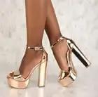 Heißer Verkauf Rose Gold Frauen Platz Heels Sandalen Peep Toe Hohe Plattform Ankle Strap Bankett Kleid Schuhe Chunky Heels Damen pumpe