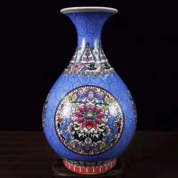 Exquisite Chinese Archaize Colored Enamel Decorative Auspicious Flower Patterns Porcelain Vase