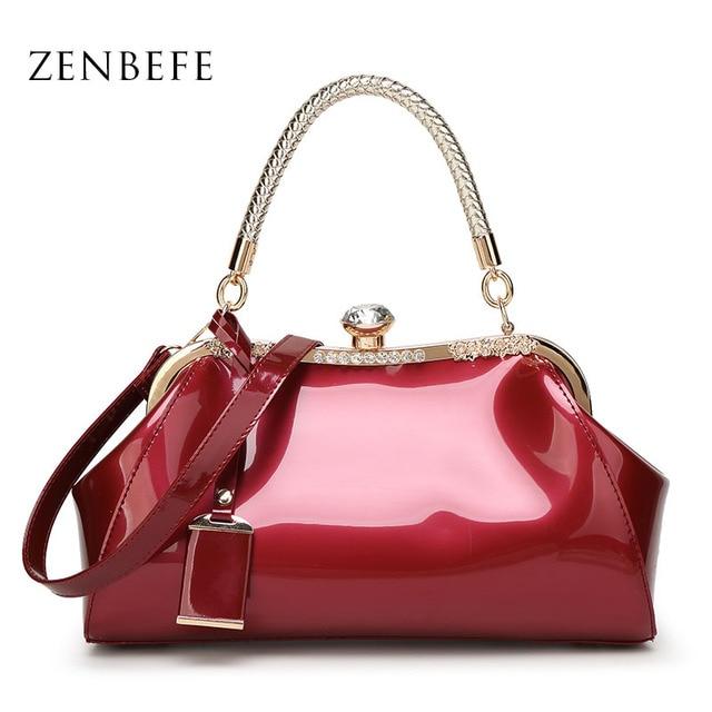 ZENBEFE Drop Shipping Evening Bags Patent Leather Women Handbags Fashion WomenS Shoulder Bags Ladies Clutchs Wedding Party Bags